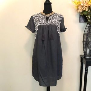 LOFT Embroidered Tie Neck Dress